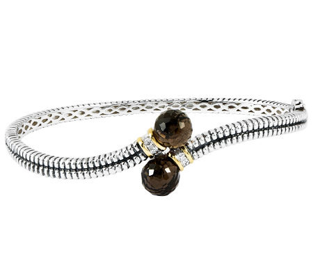 Sterling Two-tone Textured Smoky Quartz Bangle