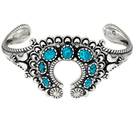 Kingman Spiderweb Turquoise Naja Cuff by American West