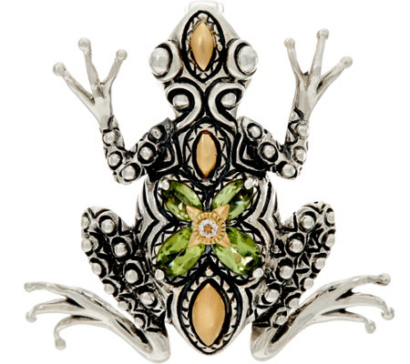 Barbara Bixby Sterling & 18K Gemstone Frog Enhancer