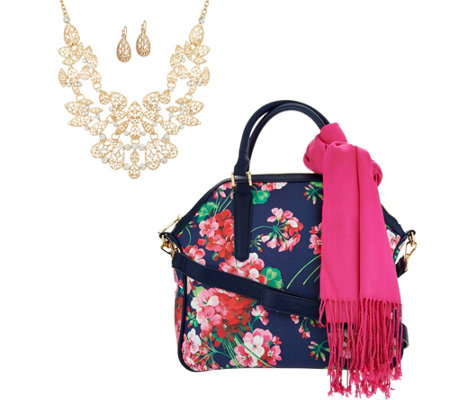 Charming Charlie Floral Jewelry & Accessory Set