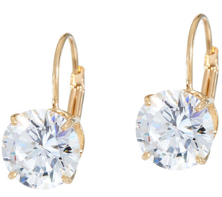 Diamonique 4.00 cttw Round Leverback Earrings, 14K Gold