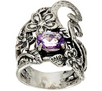 Or Paz Sterling Silver Oval Gemstone Free-form Floral Ring - J348700