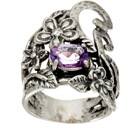 Or Paz Sterling Silver Oval Gemstone Free-form Floral Ring