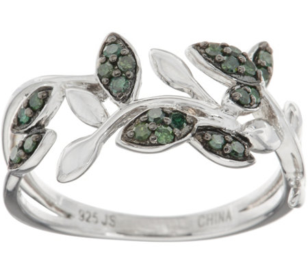 Pave' Colored Diamond Vine Ring, Sterling, 1/5 cttw, by Affinity