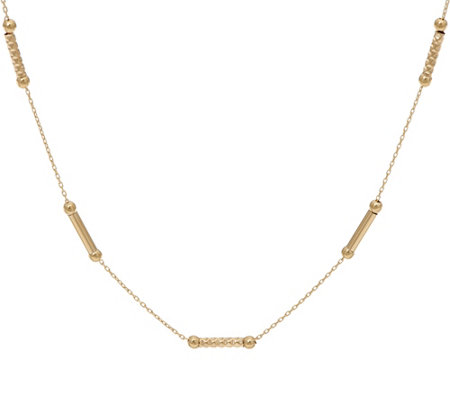 "14K Gold 18"" Diamond Cut Bar Station Necklace, 3.5g"