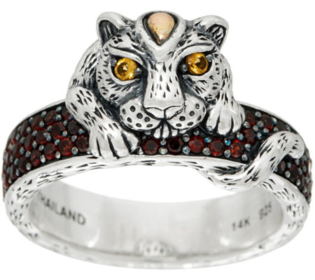 JAI Sterling Silver & 14K Leopard & Pave Gemstone Band Ring