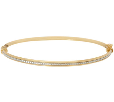 Italian Gold Small Oval Glitter Bangle, 14K Gold 3.5g