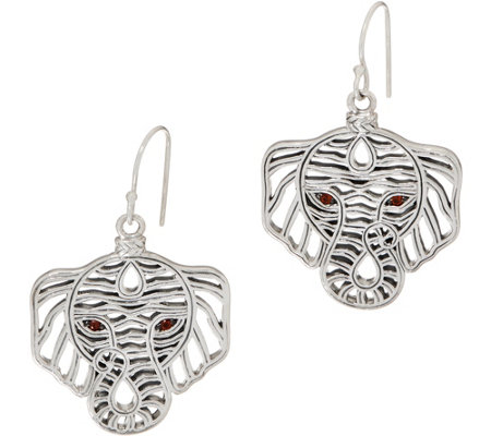 JAI Sterling Silver Figural Elephant Earrings with Garnet Eyes