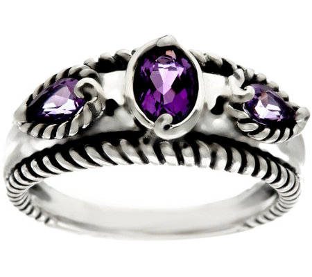"""As Is"" Carolyn Pollack Sterling Silver Gemstone Band Ring"
