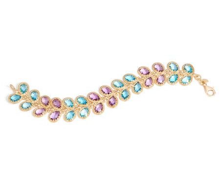 Arte D Oro 34 60 Cttw Floral Gemstone 7 1 4 Bracelet 18k Gold