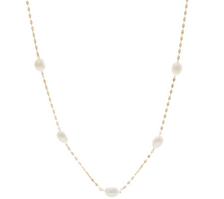 """As Is"" 14K Gold 18"" 8.0mm Cultured Pearl Station Necklace"
