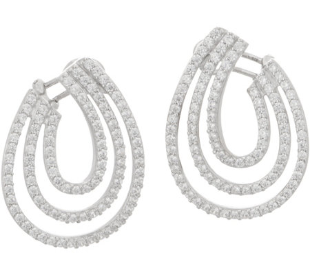 TOVA for Diamonique Triple Row Drop Earrings, Sterling