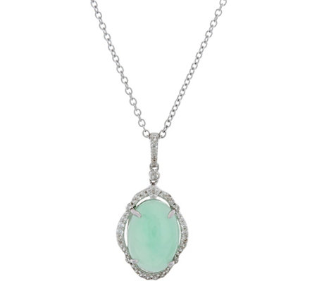 """As Is"" Green Jade & White Zircon Pendant with 18"" Chain Sterling"