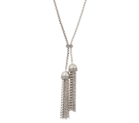 "Joan Rivers Sliding Chain 31"" Necklace with Double Tassel"