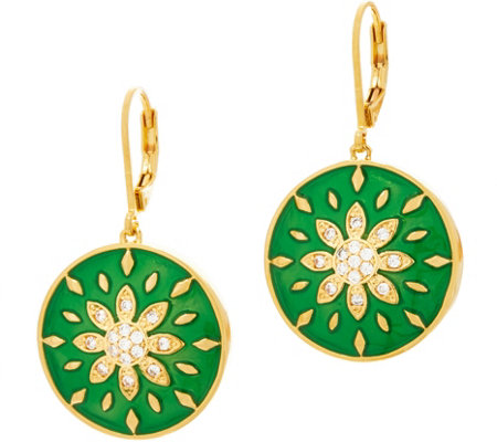 Heritage Jewelry Flower Enamel Drop Earrings