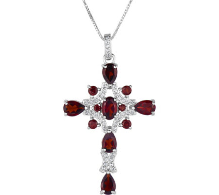 Sterling 3.00 cttw Garnet & White Topaz Cross w/ Chain