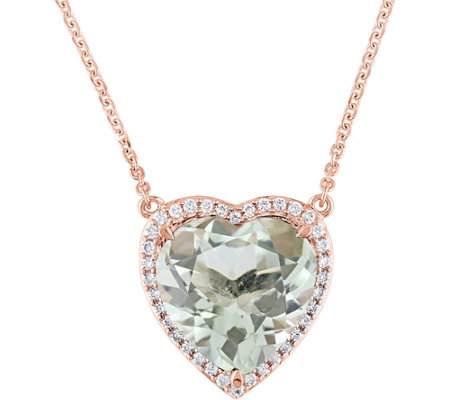 14K 4.6 ct Green Quartz & 1/6 cttw Diamond He art Necklace