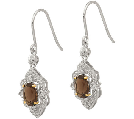 Sterling & 14K Gemstone & Diamond Dangle Earrings