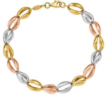 14K Tri-Color Fancy Oval Link Bracelet, 6.8g