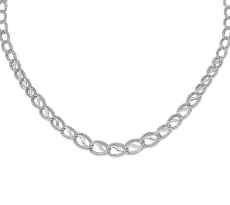 14K White Gold Diamond-Cut Double Link Necklace, 10.9g