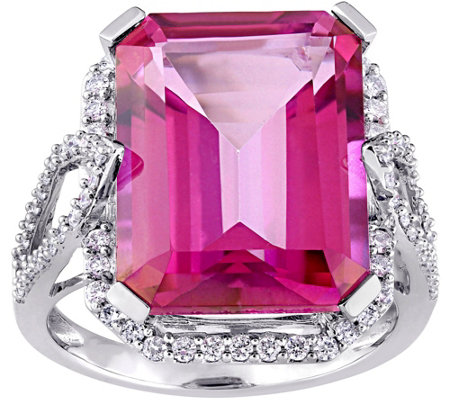 14K 14.50 cttw Pink Topaz & 1/2 cttw Diamond Cocktail Ring