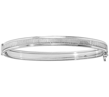 Italian Silver Textured & Polished Bangle Sterling, 7.1g