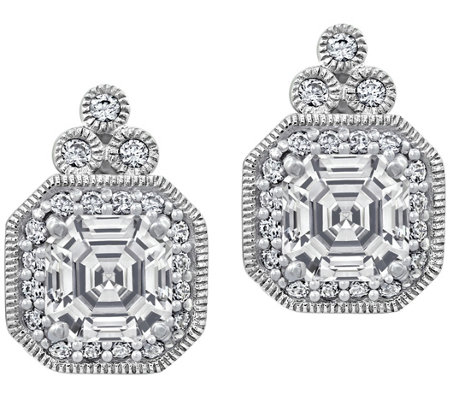 Diamonique 2.70 cttw Asscher-Cut Earrings, Platinum Plated