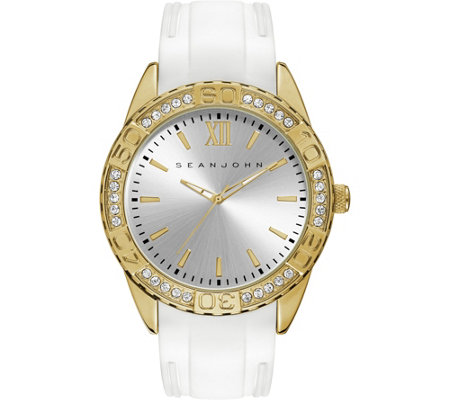 Sean John Men's Goldtone White Silicone AnalogWatch