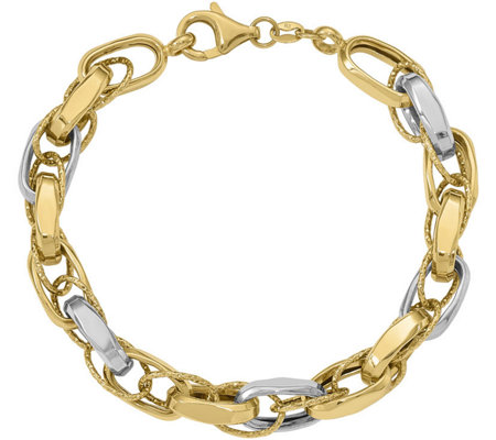 "Italian Gold 7"" Two-Tone Interlocking Link Bracelet 14K, 8.8g"