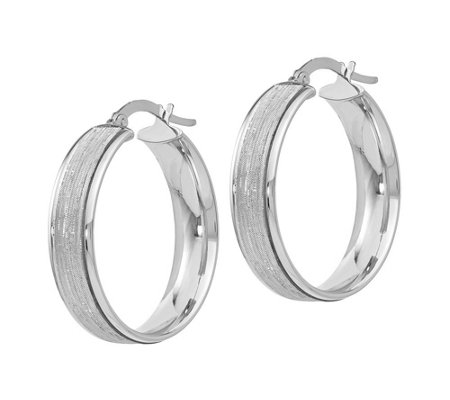 "Italian Gold 1"" Glimmer Round Hoop Earrings, 14K"
