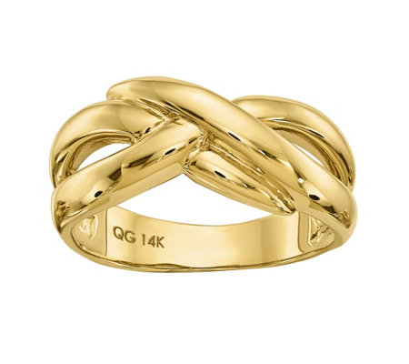 14K Gold Polished Crossover Dome Ring