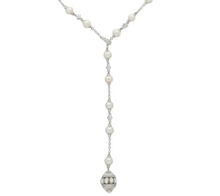 Judith Ripka Sterling Pearl & Diamonique Station Drop Necklace