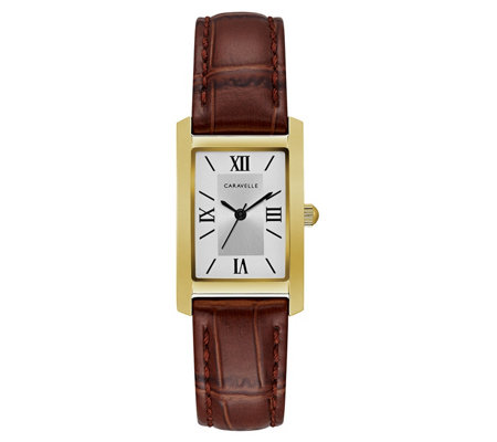 Caravelle Women's Classic Stainless Rectangle Leather Watch