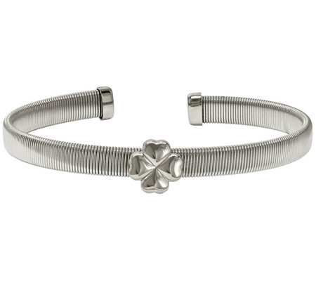 Stainless Steel Flexible Four Leaf Clover Station Cuff