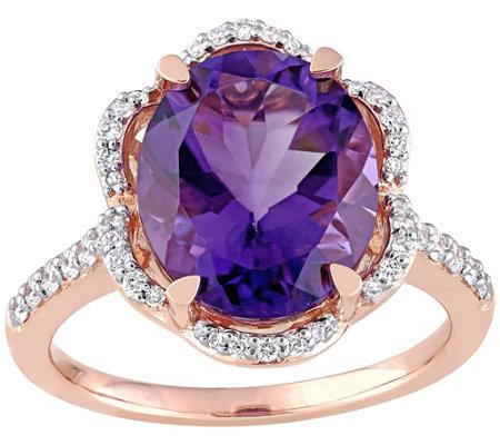 14k Gold 4 00 Cttw Amethyst 4 10 Cttw Diamondcocktail Ring