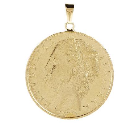 Italian Gold 100 Lire Coin Pendant 14k