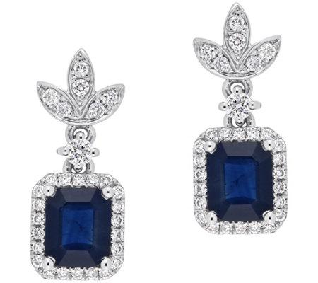 14k White Gold 1 80 Cttw Sapphire 1 3 Cttw Diamond Earrings