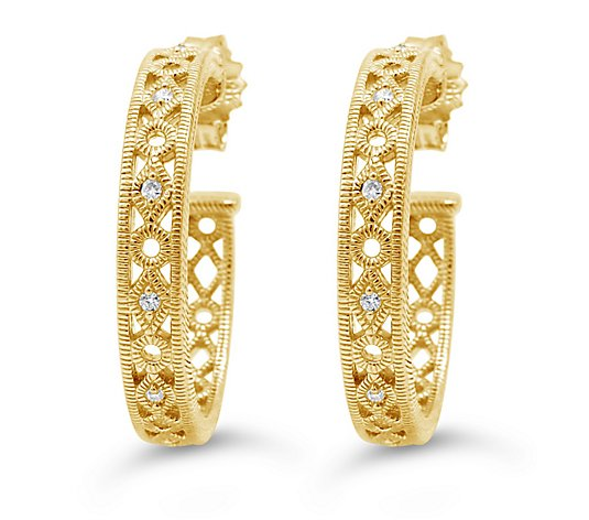 Judith Ripka 14K Gold Diamond Accent Hoop Earrings