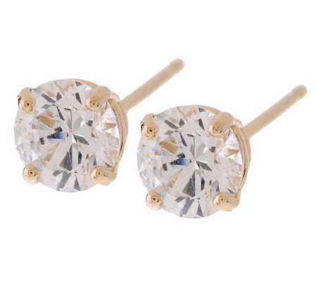 Diamonique 1 Ct Tw Stud Earrings 14k Yellow Gold Page 1 Qvc Com