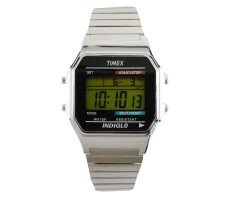 Timex Men's Digital Watch with Silvertone Expansion Band