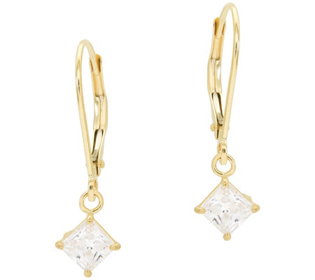 Diamonique 1.00 ct tw Princess Lever Back Earri ngs, 14K Gold