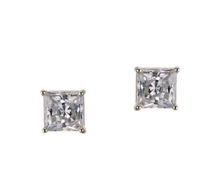 Diamonique 1.50 ct tw Princess Stud Earrings, 14K Gold