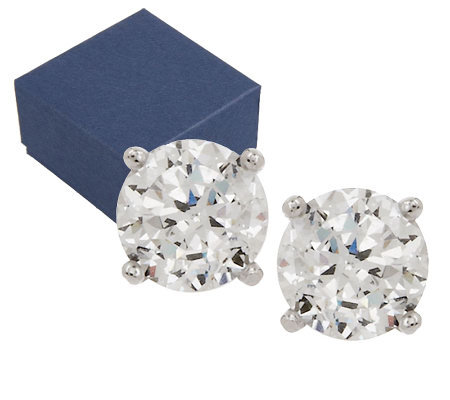 Diamonique 100-Facet 3.00 cttw Stud Earrings, Platinum Clad