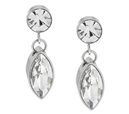 Stainless Steel Crystal Drop Earrings