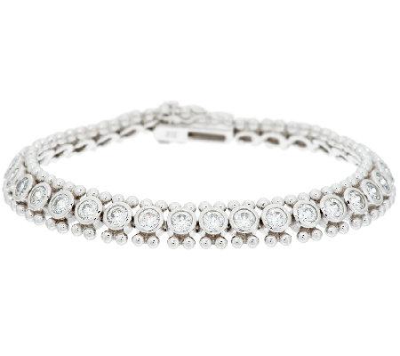 Diamonique 100 Facet Bezel Set Bead Design Tennis Bracelet