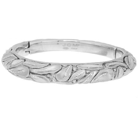 """As Is"" Italian Silver Sterling Average Satin Finish Leaf Design Bangle"
