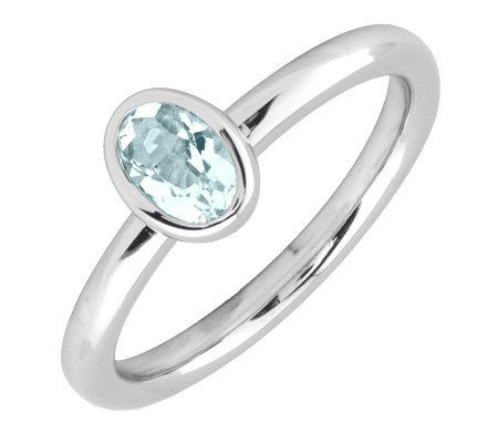 Simply Stacks Sterling & Oval Aquamarine Ring