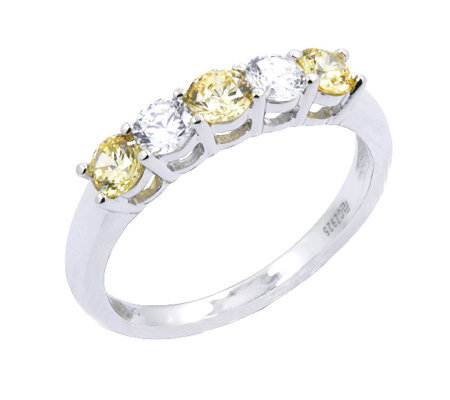 Diamonique Simulated Canary 5 Stone Ring Platinum Clad