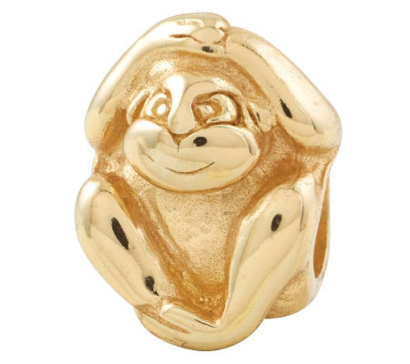 Prerogatives 14K Yellow Gold-Plated Sterling Monkey Bead