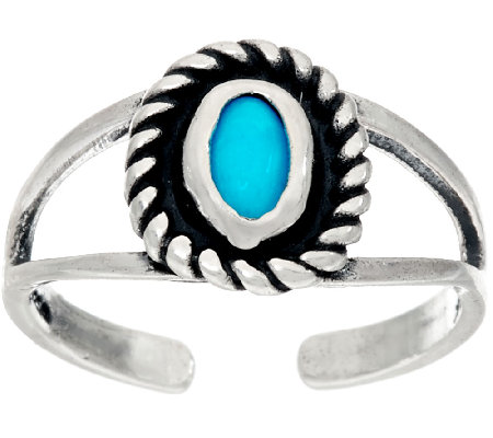 American West Sleeping Beauty Turquoise Sterling Silver Toe Ring